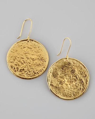 Hammered 22k Gold-Plate Medallion Earrings