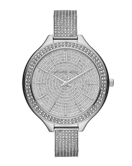 Mid-Size Silver Color Runway Three-Hand Glitz Watch