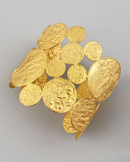 Hammered 22k Gold-Plate Medallion Cuff