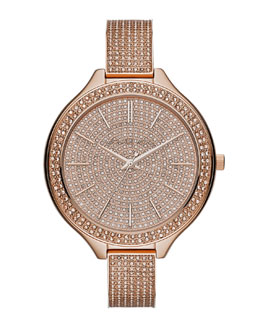 Michael Kors  Mid-Size Rose Golden Runway Three-Hand Glitz Watch