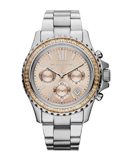 Michael Kors  Mid-Size Silver Color Stainless Steel Everest Chronograph Glitz Watch
