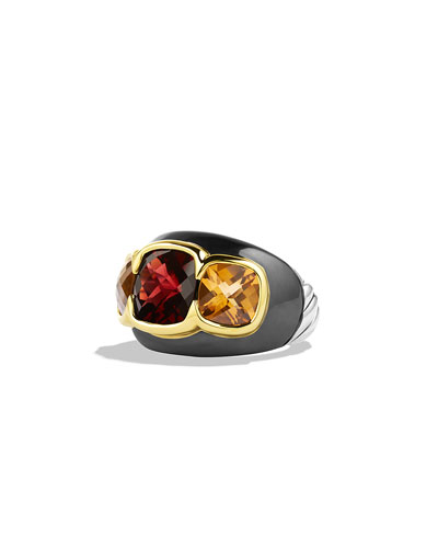 Renaissance Ring with Garnet, Citrine, and Gold