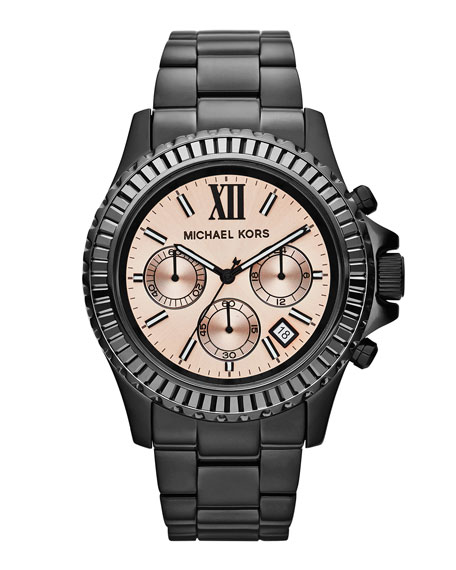 Mid-Size Black Stainless Steel Everest Chronograph Watch