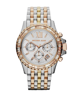 Michael Kors  Mid-Size Tri-Tone Stainless Steel Everest Chronograph Glitz Watch