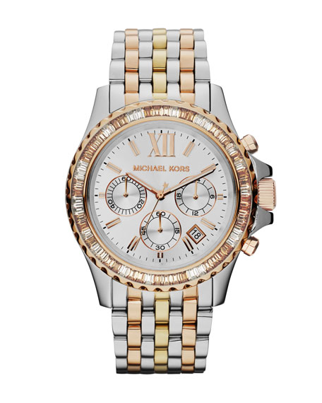 Mid-Size Tri-Tone Stainless Steel Everest Chronograph Glitz Watch