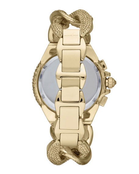 Mid-Size Golden Stainless Steel Twisted Camille Three-Hand Glitz Watch
