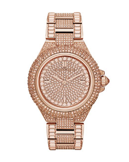 Michael Kors  Mid-Size Rose Golden Camille Three-Hand Glitz Watch