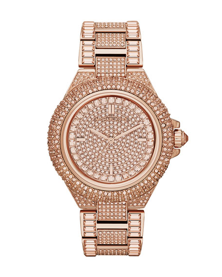 Mid-Size Rose Golden Camille Three-Hand Glitz Watch