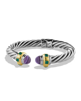 David Yurman Renaissance Bracelet with Amethyst, Green Onyx, and Gold
