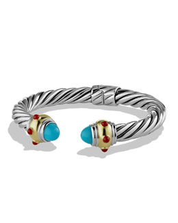 David Yurman Renaissance Bracelet with Turquoise, Carnelian, and Gold