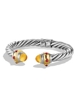 David Yurman Renaissance Bracelet with Citrine, Ruby, and Gold