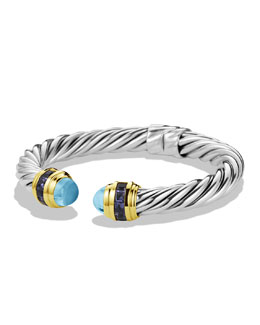 David Yurman Renaissance Bracelet with Blue Topaz, Iolite, and Gold