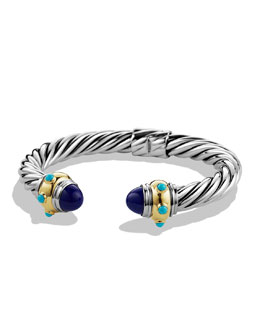 David Yurman Renaissance Bracelet with Lapis Lazuli, Simulated Turquoise, and Gold