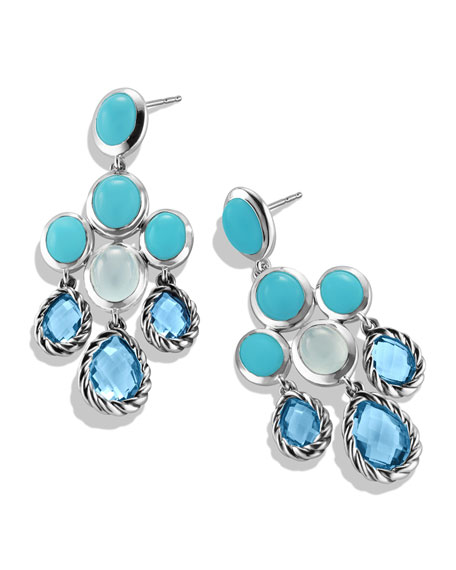 Chandelier Earrings With Blue Topaz Turquoise And Milky Quartz