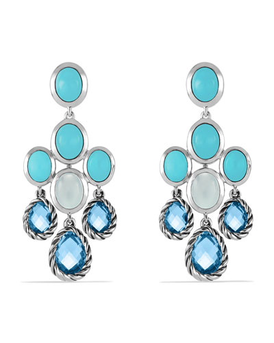 David Yurman Chandelier Earrings with Blue Topaz, Turquoise, and Milky Quartz