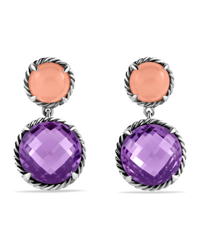 David Yurman Chatelaine Double-Drop Earrings with Amethyst and Guava Quartz