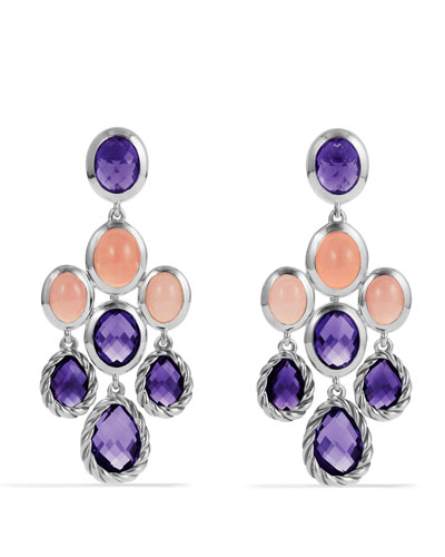 David Yurman Color Classics Chandelier Earrings with Amethyst and Guava Quartz
