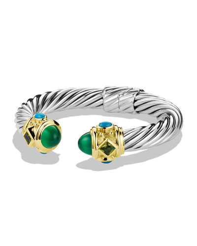 David Yurman Renaissance Bracelet with Green Onyx, Peridot, and Gold