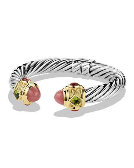 Renaissance Bracelet with Guava Quartz, Peridot, and Gold
