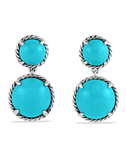 David Yurman Chatelaine Double-Drop Earrings with Turquoise