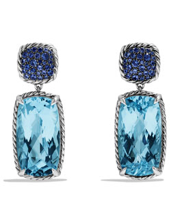 David Yurman Chatelaine Drop Earrings with Blue Topaz and Blue Sapphires