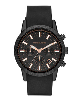 Michael Kors  Men's Black Silicone Scout Chronograph Watch