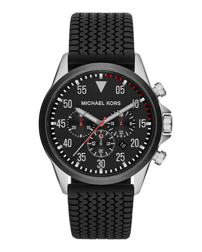 Michael Kors  Men's Black Tire-Tread Gage Chronograph Watch
