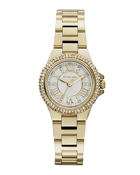 Mini-Size Golden Stainless Steel Camille Three-Hand Glitz Watch