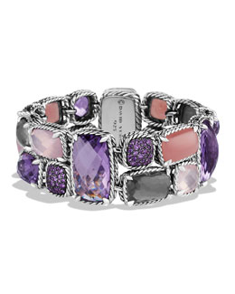 David Yurman Mosaic Bracelet with Lavender Amethyst, Guava Quartz, and Amethyst