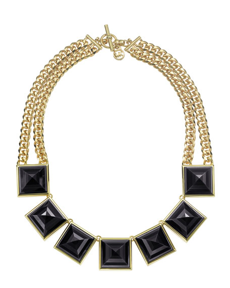 Pyramid Collar Necklace, Golden/Black