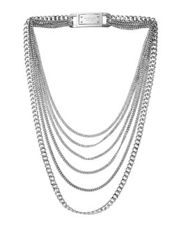 Michael Kors  Multi-Strand Chain-Link Necklace, Silver Color