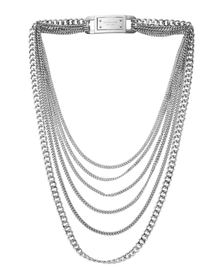 Multi-Strand Chain-Link Necklace, Silver Color