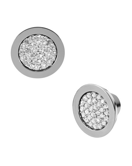 Pave Stud Earrings, Gray