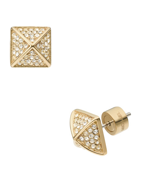 Pave Pyramid-Stud Earrings, Golden/Clear
