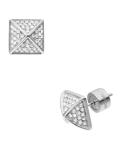 Pave Pyramid-Stud Earrings, Silver Color/Clear