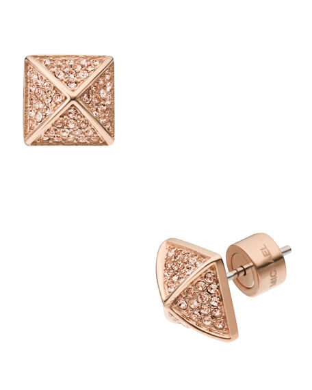 Pave Pyramid-Stud Earrings, Rose Golden