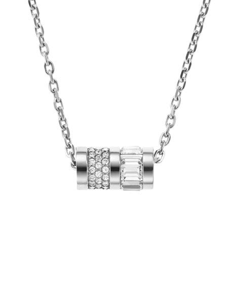 Pave Barrel Pendant Necklace, Silver Color