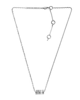 Michael Kors  Pave Barrel Pendant Necklace, Silver Color