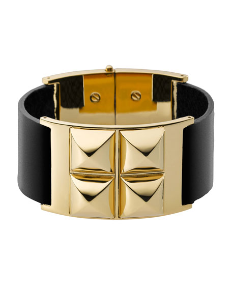 Leather Pyramid Bracelet, Golden