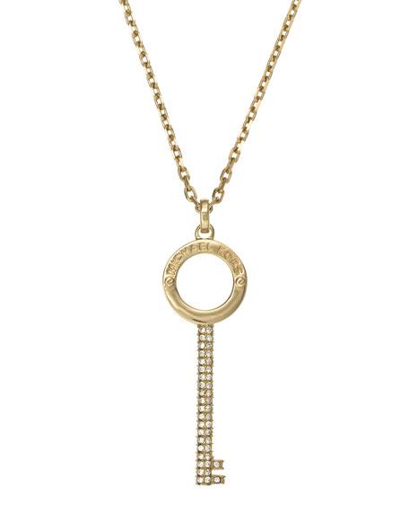 Pave-Key Pendant Necklace, Golden