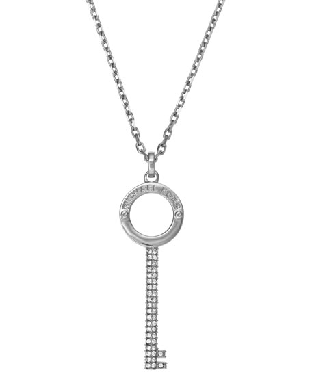 Pave-Key Pendant Necklace, Silver Color