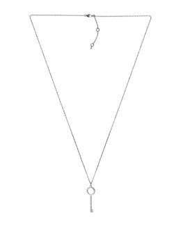 Michael Kors  Pave-Key Pendant Necklace, Silver Color