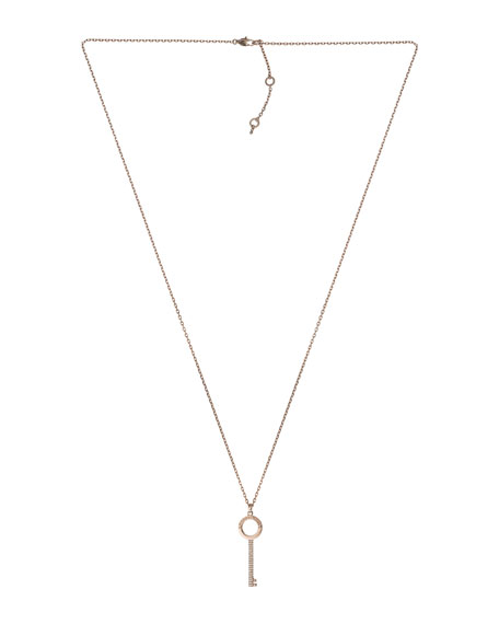 Pave-Key Pendant Necklace, Rose Golden