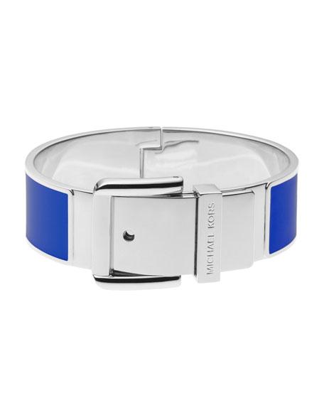 Epoxy Buckle Bangle, Blue/Silver