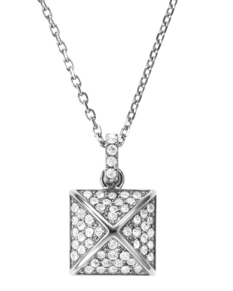 Pave-Pyramid Pendant Necklace, Silver Color