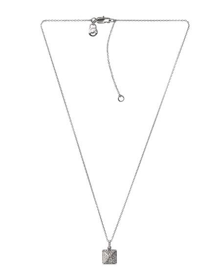 Pave-Pyramid Pendant Necklace, Silver Color