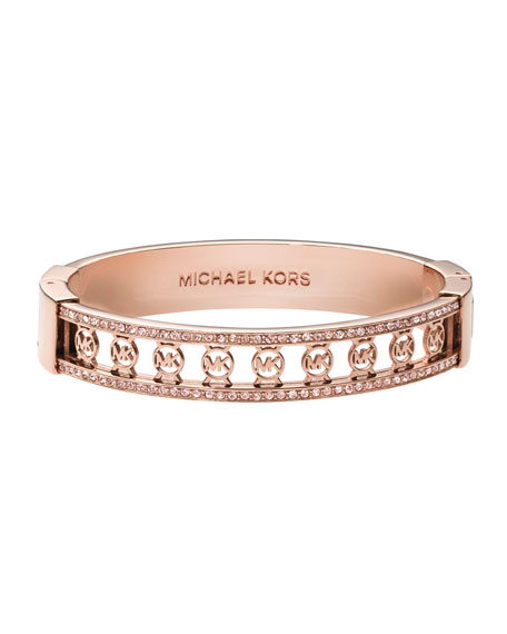 Monogram-Cutout Pave Bangle, Rose Golden