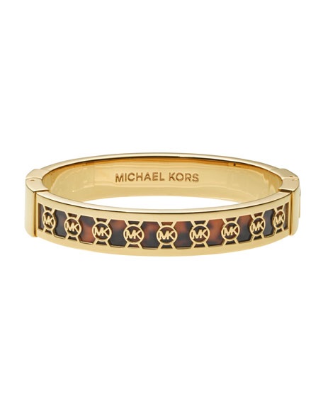 Monogram-Cutout Bangle, Golden/Tortoise