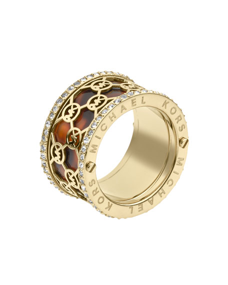 Monogram-Cutout Tortoise Ring, Golden