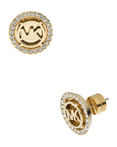 Logo Pave Stud Earrings, Golden